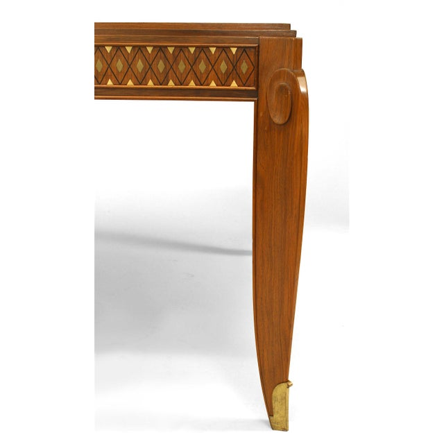 Art Deco Fine French Inlaid Rosewood Dining Table, by Jean Pascaud For Sale - Image 3 of 5