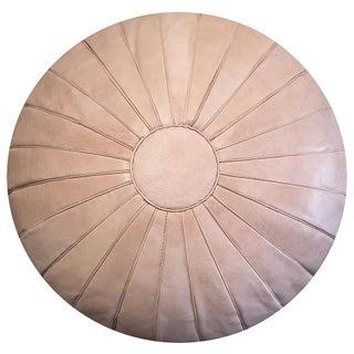 "Deco Pouf by Mpw Plaza, Natural, Large (Stuffed) 19"" X 34"", Moroccan Leather Pouf Ottoman Preview"