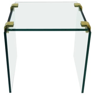 Modern Brass and Glass End or Side Table After Leon Rosen for Pace For Sale