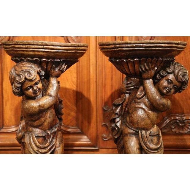 18th Century French Hand-Carved Walnut Jardinieres With Cherubs - A Pair For Sale - Image 4 of 9