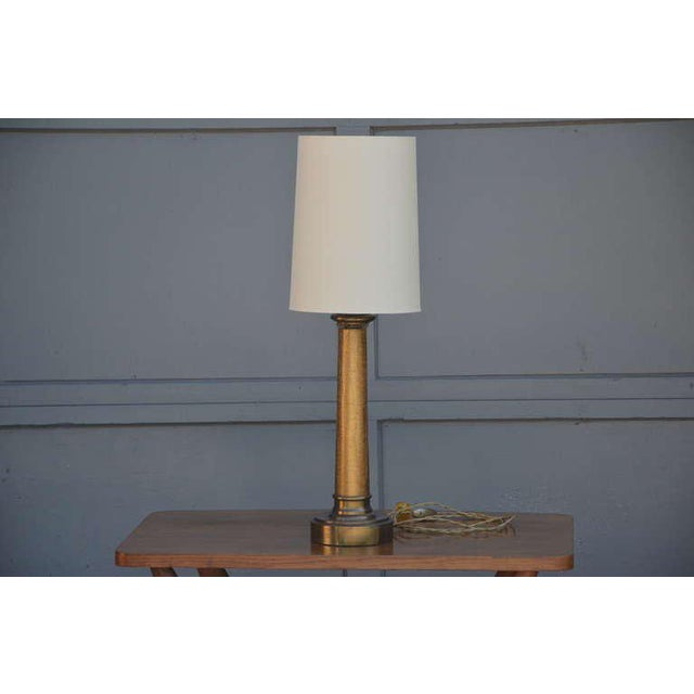 Pair of chic crackled glass column lamps by Paul Hanson. Signed. Couple of shade options (as seen on pictures). Narrow...
