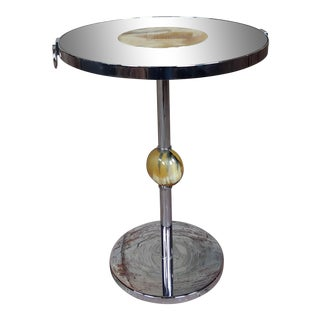 Modern Art Deco Chrome & Glass Round Cocktail Stand For Sale