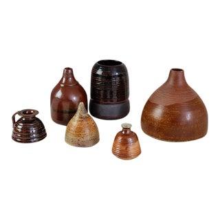Franco Agnese Set of Six Brown to Black Ceramic Vases, France, 1960s For Sale