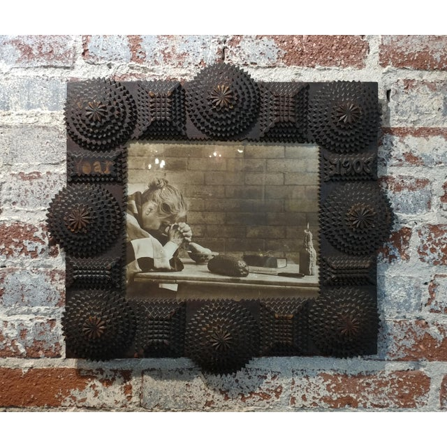 """Antique Tramp Art Intricate wooden Picture Frame 1903 - Rare frame size 18 x 20"""" picture size 9 x 11"""" A beautiful piece..."""