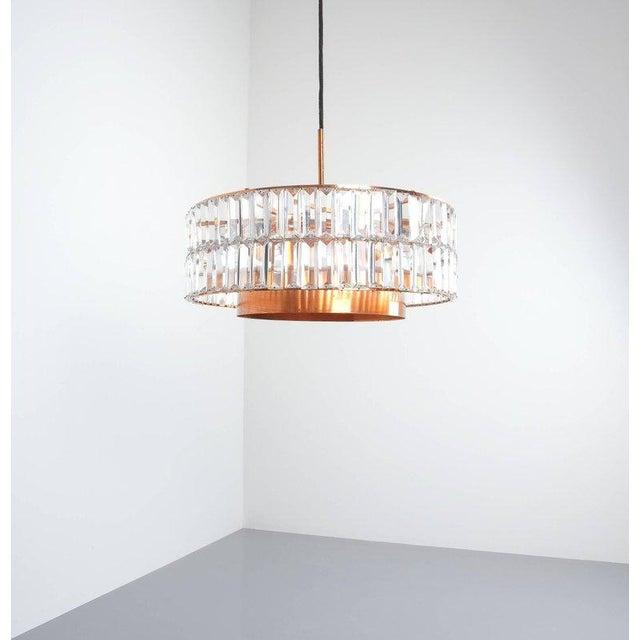 Copper Jo Hammerborg Attributed for Fog & Mørup Large Chandelier Denmark Lamp, 1960 For Sale - Image 7 of 8