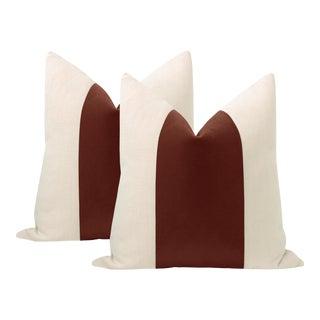"22"" Rouge Mohair Velvet Panel & Linen Pillows - a Pair For Sale"