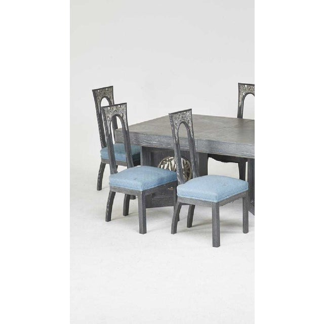 Contemporary James Mont Designs Cerused Extension Dining Table and Six Side Chairs, New York 1960s For Sale - Image 3 of 5