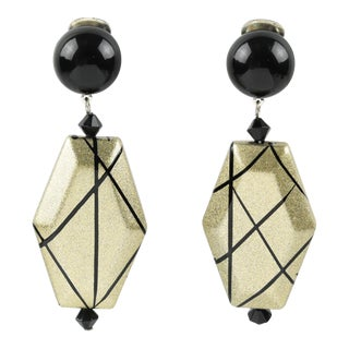 Angela Caputi Black and Pale Gold Dangling Resin Clip on Earrings For Sale