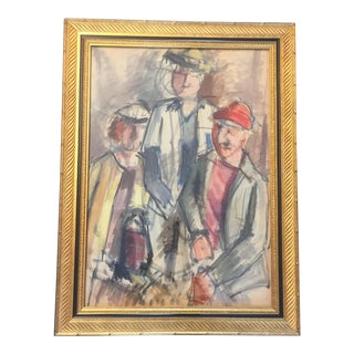 Original Vintage Modernist Watercolor Painting For Sale