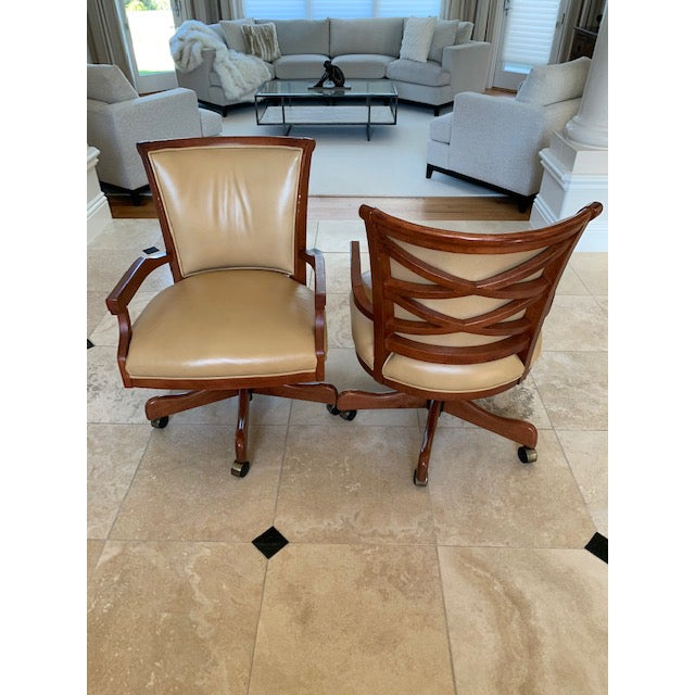 Beautifully maintained Sam Moore swivel office chairs with lattice back. Sam Moore is known for quality furnishings of...