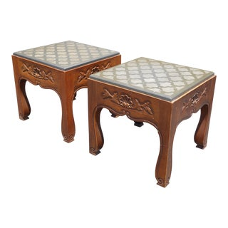 Drexel Mid-Century Modern Slate Carved Wood End Tables - A Pair For Sale