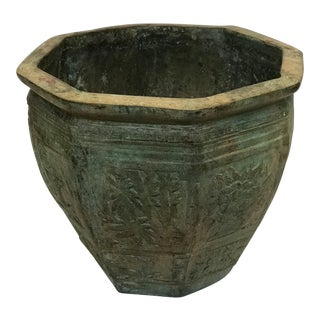 Vintage Bronze Octagonal Planter For Sale