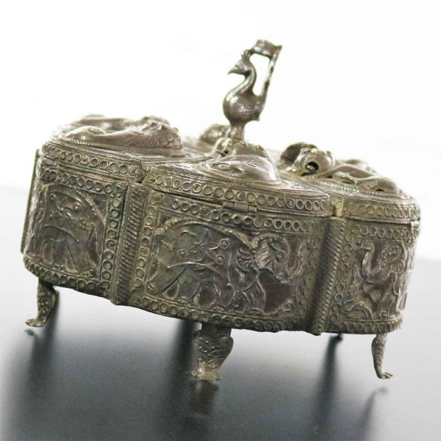 Traditional Antique India Pierced Silver Overlay Spice Box With Six Compartments For Sale - Image 3 of 13