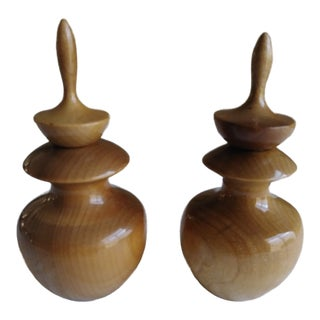 Myrtlewood Perfume/Oil Holder- a Pair For Sale