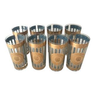 Vintage 22k Gold Culver Greek Theme Highball Glasses - Set of 8 For Sale