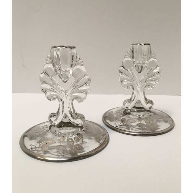Art Deco Silver Glass Candle Holders - PaiR - Image 4 of 8