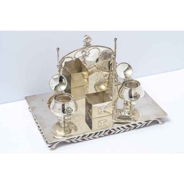 Silver Sterling silver inkstand For Sale - Image 8 of 9
