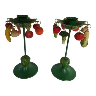 Whimsical Green Tole Candlesticks With Fruit and Veggie Charms - a Pair For Sale