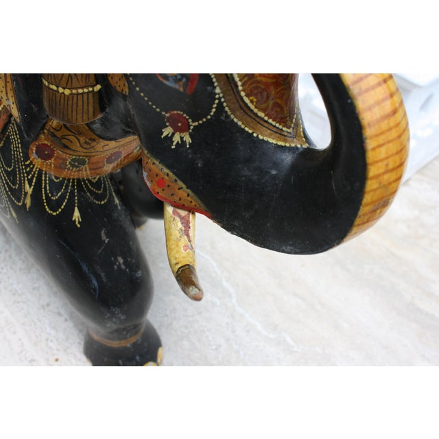 Wood Antique Hand-Painted and Carved Wooden Elephant For Sale - Image 7 of 12