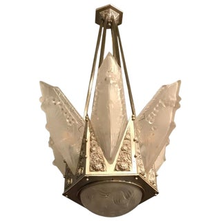 Grand French Art Deco Geometric Chandelier Signed by Schneider For Sale