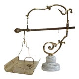 Image of Vintage Italian Decorative Brass Baker's Scale For Sale