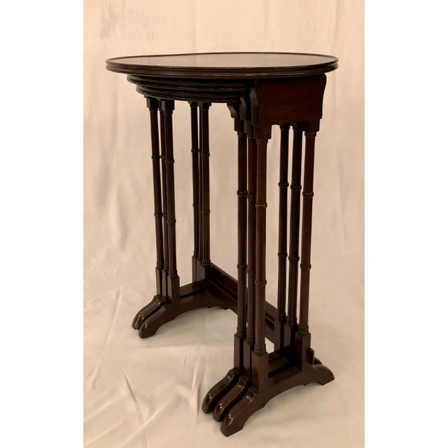 Late 19th Century Antique English Mahogany Nest of Tables With Delicate Inlay. For Sale - Image 5 of 8