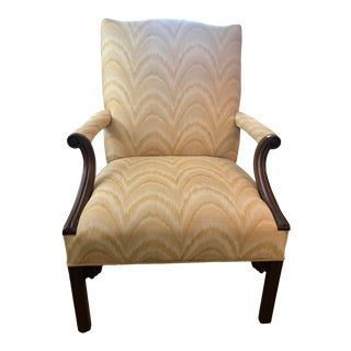Vintage Yellow Flamestitch Upholstered Arm Chair For Sale