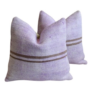 """Lavender Turkish Wool & Hemp Carpet Feather/Down Pillows 20"""" Square - Pair For Sale"""