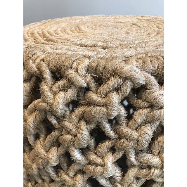 Contemporary Made Goods Angela Natural Abaca Rope Side Table For Sale - Image 3 of 5