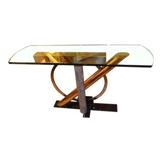 Mid Century Modern Kaizo Oto for Design Institute America Glass Console Table For Sale