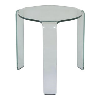 Fiam Italia Bent Tempered Glass Side Table For Sale
