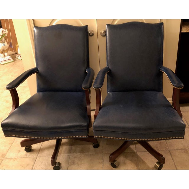 Old Hickory Tannery Navy Blue Leather Desk Chairs - a Pair - Image 2 of 3
