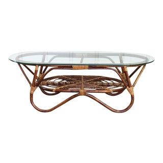 Vintage 1960s Boho Modern Rattan Bamboo & Glass Coffee Table For Sale