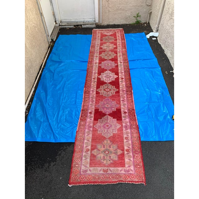 Vintage Turkish Oushak Red Runner- 2′10″ × 12′10″ For Sale - Image 9 of 9