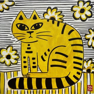 """""""Yellow Cat"""" Painting by Jelly Chen For Sale"""