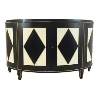Modern Russian Harlequin Macassar Ebony and Ivory Finished Demi-Lune Cabinet For Sale
