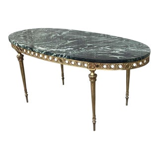 Green Marble and Bronze Oval Shaped Coffee Side Table, Italy, 1970s For Sale