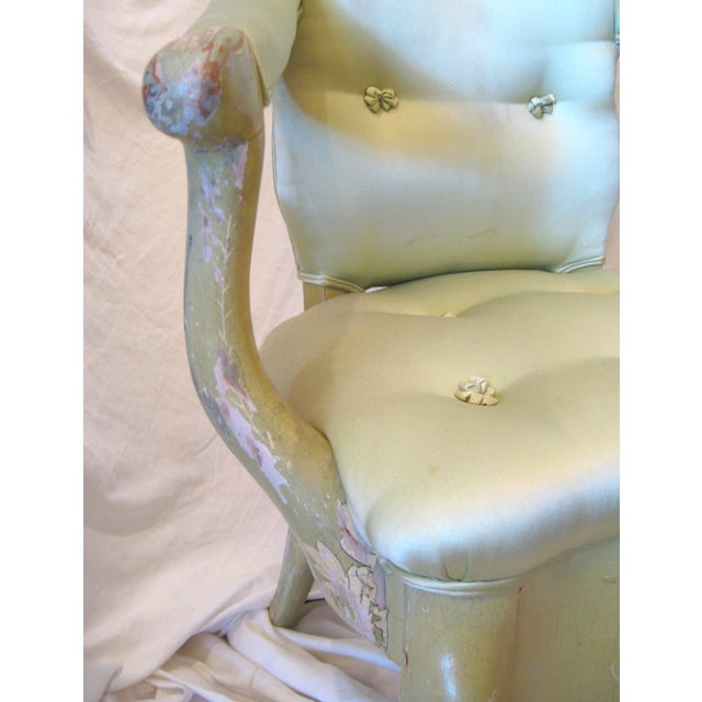 Pale Green Painted Victorian Armchair - Image 6 of 7