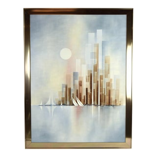 Vintage Mid-Century William Meyers Abstract Cityscape W Harbor Painting For Sale
