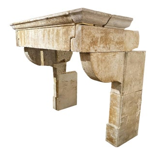 Louis XIII Antique Limestone Mantel, circa 1680 For Sale