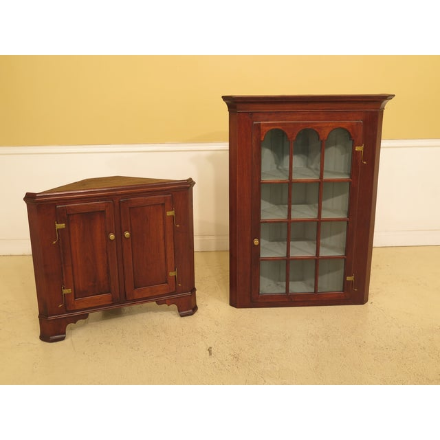 1970s Chippendale Walnut Corner Cabinets - a Pair For Sale - Image 11 of 13