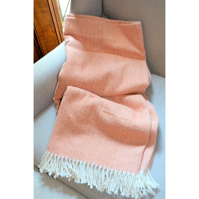 Italian Apricot and Cream Cotton Throw Blanket For Sale - Image 4 of 9