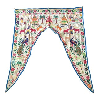 Vintage Indian Toran Embroidered Valance For Sale