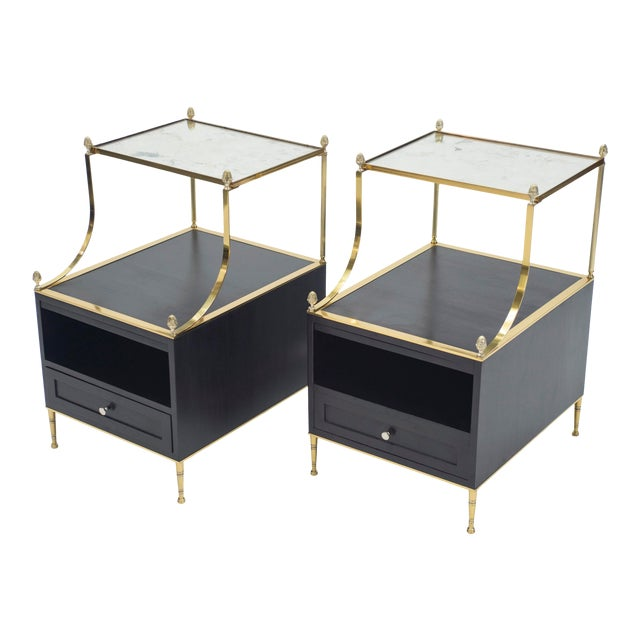 Rare Pair of French Maison Charles Brass Mirrored End Tables 1950s For Sale