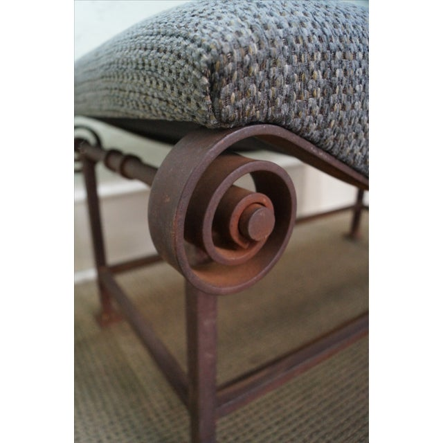 Rustic Scrolled Iron Frame Window Bench - Image 4 of 10