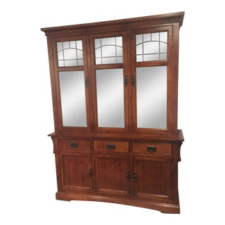 Mission Style Walnut & Brass China Closet For Sale