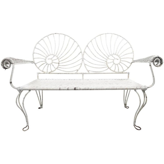 Nautilus Shell Back Wicker and Iron Garden Bench For Sale - Image 11 of 11