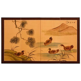 Japanese Four Panel Folding Screen with Ducks For Sale
