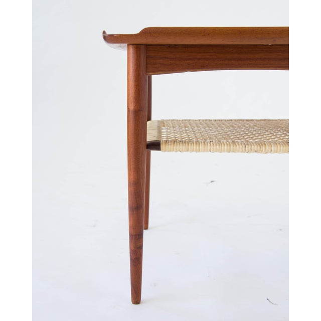 Brown Poul Jensen for Selig Square Side Table With Cane Shelf For Sale - Image 8 of 8