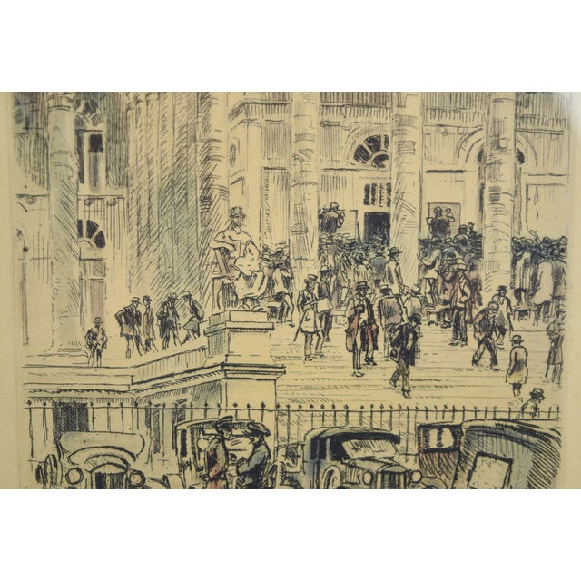 1920s 1920s Vintage Reporters Swarming Courthouse Awaiting Verdict Veder Hand-Colored Etching For Sale - Image 5 of 10